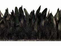 1 Yard - Black Rooster Half Bronze Schlappen Feather Trim