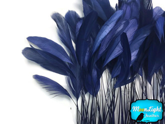 Navy Blue Stripped Coque Tail Feathers Wholesale (Bulk)