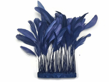 Deep blue dyed eyelash feather trim