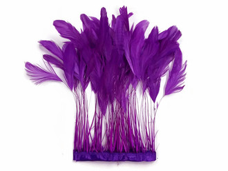 Purple Stripped Coque Tail Feathers Wholesale (Bulk)