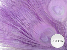 """5 Pieces – Lavender Bleached & Dyed Peacock Tail Eye Feathers 10-12"""" Long"""