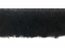 1 Yard - Black Marabou Turkey Fluff Feather Fringe Trim