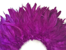 Violet fluffy dense strip of rooster feathers