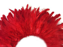 Bright red colored section of fluffy rooster craft feathers