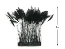 1 Yard - Black Stripped Rooster Hackle Wholesale Feather Trim (Bulk)