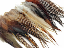 Soft and striped brown and white rooster hair extensions