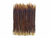 Orange and brown patterned skinny craft feathers