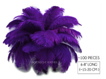 "100 Pieces - 6-8"" Purple Wholesale Ostrich Drabs Feathers (Bulk)"