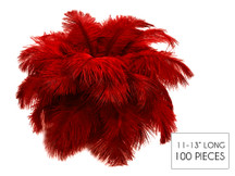"100 Pieces - 11-13"" Red Ostrich Drabs Wholesale Body Feathers (Bulk)"