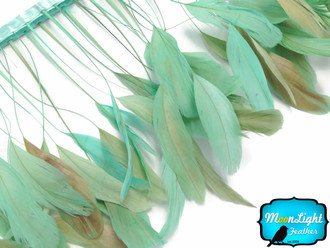 Aqua Green Stripped Coque Tail Feathers Wholesale (Bulk)