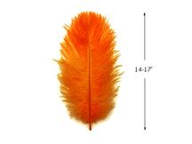 "10 Pieces - 14-17"" Orange Ostrich Dyed Drab Body Feathers"