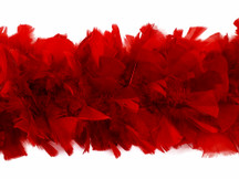 2 Yards - Red Heavy Weight Turkey Flat Feather Boa, 150 Gram