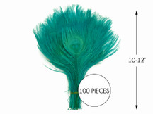 """100 Pieces – Peacock Green Bleached & Dyed Peacock Tail Eye Wholesale Feathers (Bulk) 10-12"""" Long"""