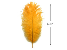 "10 Pieces - 14-17"" Golden Yellow Ostrich Dyed Drab Body Feathers"