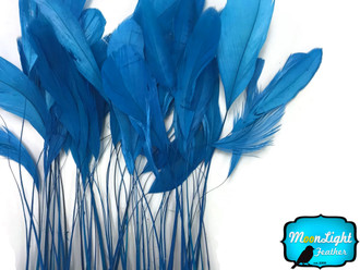 Turquoise Blue Stripped Coque Tail Feathers Wholesale (Bulk)