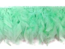 1 Yard - Aqua Blue Chandelle Turkey Fluffy Feather Trim