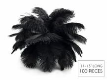 "100 Pieces - 11-13"" Black Ostrich Drabs Wholesale Body Feathers (Bulk)"