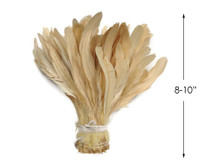 "1/2 Yard -  8-10"" Ivory Strung Natural Bleach Rooster Coque Tail Wholesale Feathers (Bulk)"