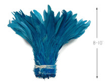 """1/2 Yard - 8-10"""" Turquoise Blue Strung  Bleach & Dyed Rooster Coque Tail Wholesale Feathers (Bulk)"""