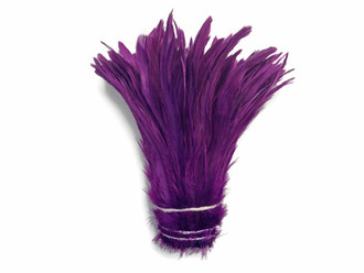Purple Strung Natural Bleach And Dyed Coque Tails Wholesale Feathers (Bulk)