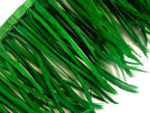 1 Yard - Kelly Green Goose Biots Stripped Wing Wholesale Feather Trim
