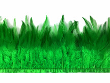 1 Yard - Christmas Green Rooster Neck Hackle Saddle Feather Wholesale Trim