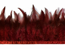 1 Yard - Burgundy Rooster Neck Hackle Saddle Feather Wholesale Trim