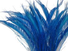 5 Pieces - Turquoise Blue Bleached & Dyed Peacock Swords Cut Feathers
