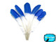 6 Pieces - Blue Half Dipped Turkey Round Wing Quill Feathers