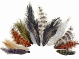 Natural Mix Grizzly Rooster Chickabou Fluff Wholesale Feathers 0.05 Oz. (Bulk)