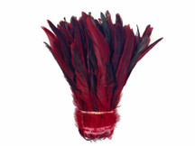 Red Half Bronze Natural Dyed Coque Tail Strung Wholesale Feathers (Bulk)