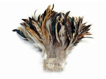 1 Yard - Natural Cream & Black Strung Rooster Schlappen Wholesale Feathers (Bulk)
