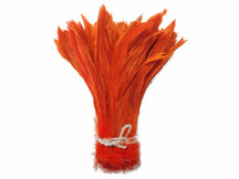 Fiery orange strip of  long craft feathers