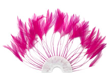 1 Piece - Hot Pink Half Beaded Pinwheel Stripped Rooster Hackle Feather Pads