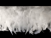 1 Yard - White  Chandelle Turkey Fluffy Feather Trim