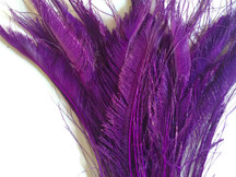 5 Pieces - Purple Bleached & Dyed Peacock Swords Cut Feathers