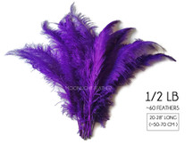 "1/2 Lb - Purple Large Ostrich Spads Wholesale Feathers 20-28"" (Bulk)"