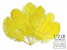 "1/2 Lb - 12-16"" Yellow Ostrich Tail Wholesale Fancy Feathers (Bulk)"