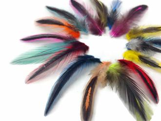 Colorful Mini Laced Hen Cape Feathers 0.02 Oz. (Bulk)