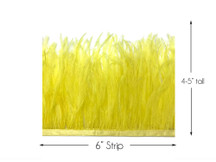 6 Inch Strip - Yellow Ostrich Fringe Trim Feather