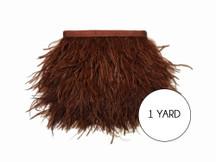 1 Yard - Brown Ostrich Fringe Trim Wholesale Feather (Bulk)