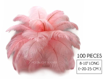 "100 Pieces - 8-10"" Light Pink Ostrich Dyed Drab Body Wholesale Feathers (Bulk)"