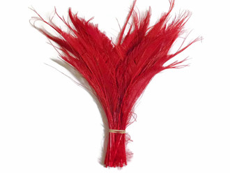 Red Bleached Peacock Swords Cut Wholesale Feathers (Bulk)