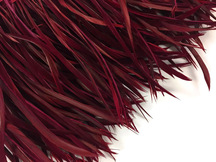 1 Yard - Burgundy Goose Biots Stripped Wing Wholesale Feather Trim