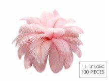 "100 Pieces - 11-13"" Baby Pink Ostrich Drabs Wholesale Body Feathers (Bulk)"