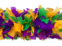 2 Yards - Mardi Gras Heavy Weight Turkey Flat Feather Boa, 150 Gram