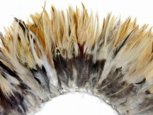 """4 Inch Strip - 4-6"""" Natural Cream Strung Chinese Rooster Saddle Feathers"""