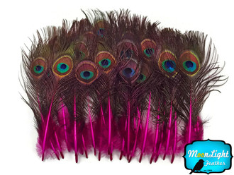 Hot Pink Mini Natural Peacock Tail Body Feathers With Eyes
