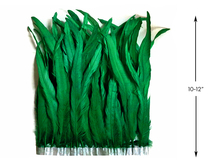 "1 Yard - 10-12"" Kelly Green Bleach and Dyed Coque Tails Long Feather Trim (Bulk)"