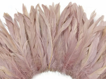 Dusty rose colored fluffy rooster feathers
